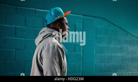 Miami Gardens, Florida, USA. 11th Dec, 2016. Miami Dolphins Dion Jordan enters the field at Hard Rock Stadium in - Stock Photo