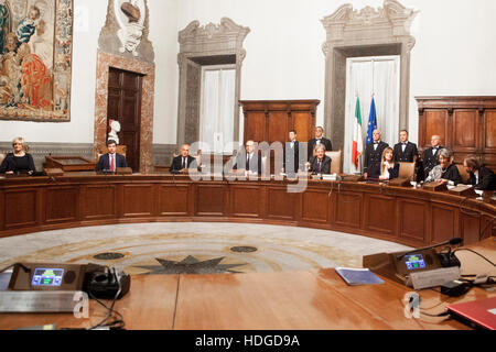Rome, Italy. 12 December 2016. Paolo Gentiloni, Italy's new prime minister, centre, attends his first cabinet meeting - Stock Photo