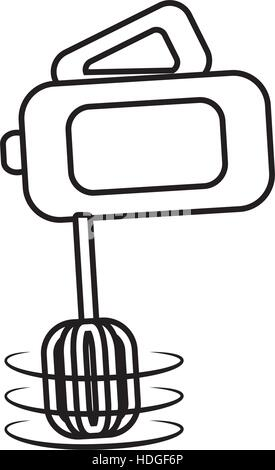 electric mixer cooking kitchen appliance outline vector illustration eps 10 - Stock Photo