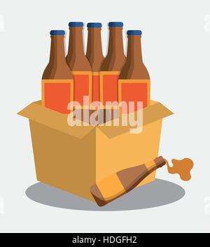 bottles beer cardboard box vector illustration eps 10 - Stock Photo