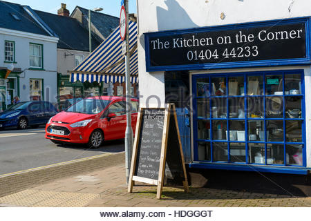 Kitchen shop in the High Street, Honiton, Devon, England, UK - Stock Photo