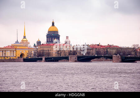View by the Saint Isaac's Cathedral from Neva river, St. Petersburg, Russia - Stock Photo