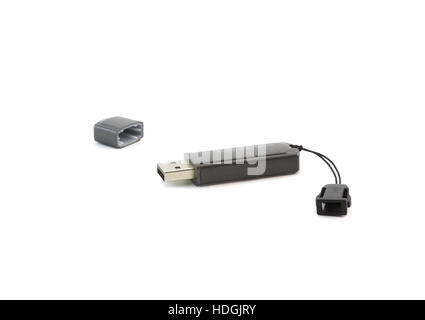 USB flash card . Isolated over white - Stock Photo