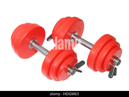 A sporting equipment - two red dumbbells. Isolated over white. - Stock Photo