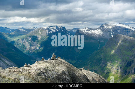 Panoramic view from Dalsnibba mountain peak to Geiranger fjord, Norway. - Stock Photo