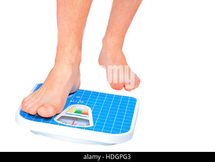 Man's legs , which weighed on floor scale. Isolated over white - Stock Photo