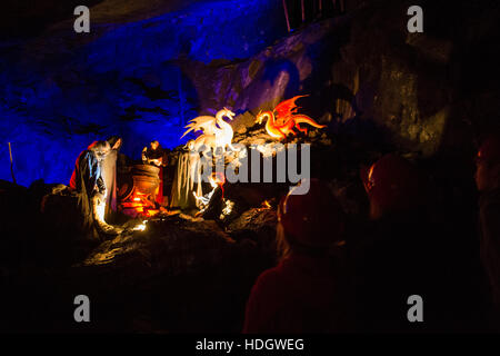 King Arthur's Laybrinth, built in a former slate quarry, Corris, Snowdiona Nationa Park, Gwynedd, North Wales UK - Stock Photo