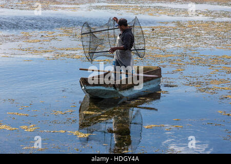 A fisherman in a small cayuco prepares to set a fish trap in Lake Atitlan, Guatemala.  He is standing, ready to - Stock Photo
