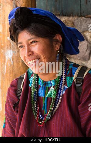 Portrait of a Mayan woman in traditional dress in Santa Cruz la Laguna, Guatemala. - Stock Photo
