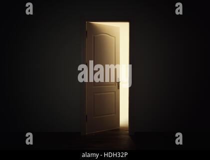Open door with light in dark room