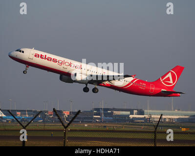 TC-ATE, Airbus A321-211, Atlasjet takeoff from Schihol runway 36C pic1 - Stock Photo
