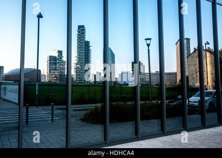 Milano, Italy. 14th Nov, 2016. The view of the new Porta Nuova complex from the reflection of the glass of Bosco - Stock Photo
