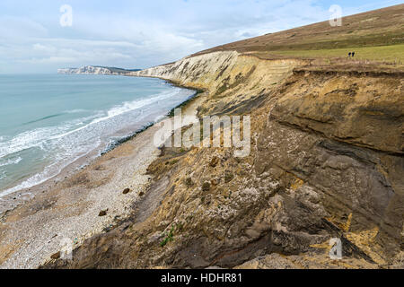 Cliff erosion and slumping on Compton Down with two people walking on edge, Isle of Wight, UK - Stock Photo