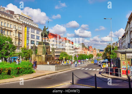 PRAGUE, CZECH REPUBLIC-SEPTEMBER 12, 2015: Wenceslas Square with people - the central square of the city of Prague. - Stock Photo