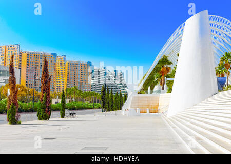 VALENCIA, SPAIN - SEPT 10:  Landscaped walk tropic park (L'Umbracle) - City of Arts and Sciences. September 10, - Stock Photo