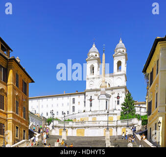 Spain's Square and Church of the Holy Trinity in Rome while on vacation in Rome, Italy - Stock Photo