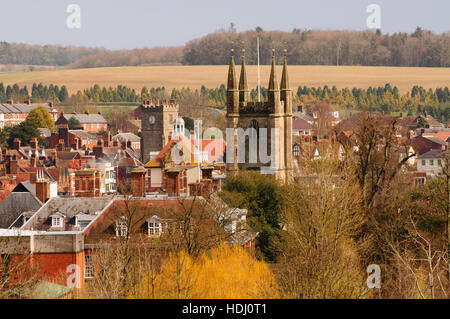 Rooftop view across the market town of Marlborough, Wiltshire. - Stock Photo