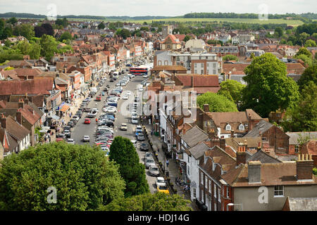Rooftop view across the market town of Marlborough, Wiltshire, looking along the High Street. - Stock Photo