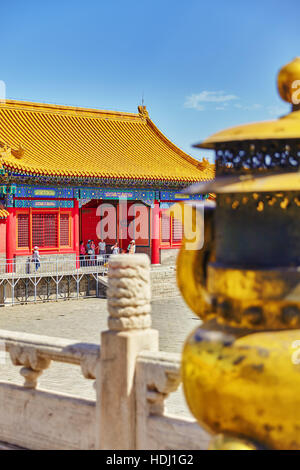 BEIGING, CHINA- MAY 18, 2015 : Copper bowl  inside territory of the Forbidden City Museum in Beijing, in the heart - Stock Photo