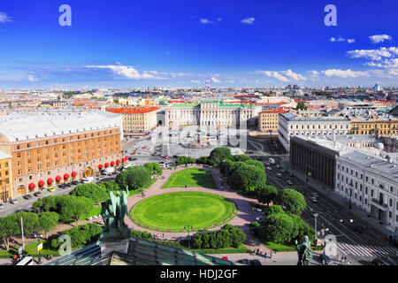 View on   of St. Petersburg city  from  the colonnade of St. Isaac's. Russia - Stock Photo