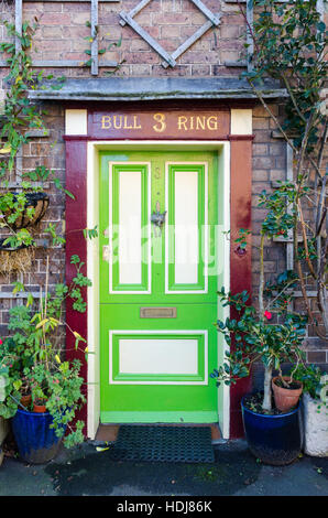 Elegant Green And White Painted Wooden Door In Much Wenlock Shropshire  Stock Photo With Haustr Grn