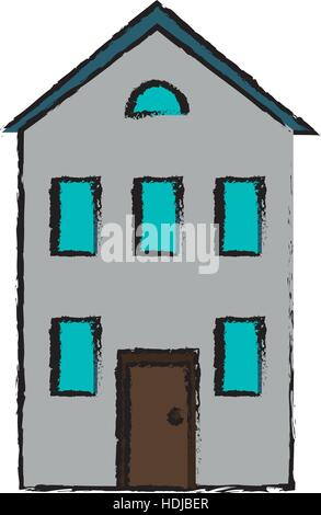 drawing real state house two floor - Stock Photo