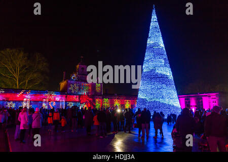 Longleat Festival of Light - Singing Christmas tree light show - Stock Photo