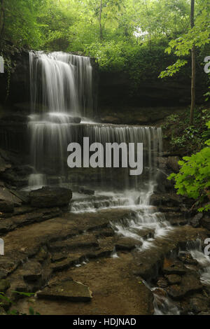 Summer  Waterfall. West Milton Cascades, West Milton, Dayton, Ohio, USA. - Stock Photo