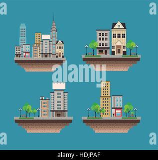 set city buildings landscape street - Stock Photo