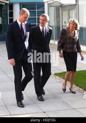 The Duke of Cambridge leaving the 'Step into Health' military employment programme at the Ark Centre, Basingstoke - Stock Photo