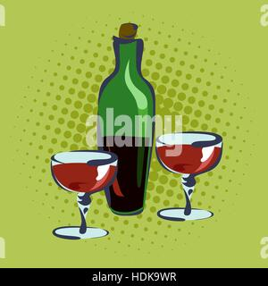 Bottle for wine and two glasses, hand drawn, pop art retro illustration. - Stock Photo