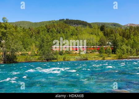 Train Oslo - Bergen in mountains. Norway. - Stock Photo