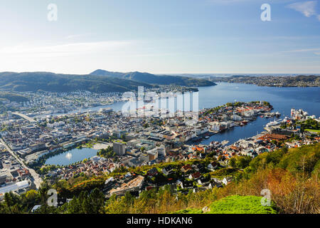 Bergen city view from Mount Floyen. Norway. - Stock Photo