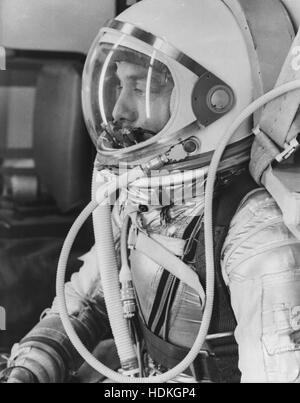 NASA astronaut Alan Shepard suits up in a pressure suit and helmet in preparation for the Mercury-Redstone 3 (MR - Stock Photo