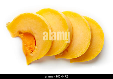 Pumpkin slices isolated on white background, top view - Stock Photo