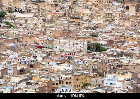 Roofs of Fez, a view of the imperial city from above. Morocco. - Stock Photo