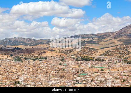 View of the imperial city of Fez from above. Morocco. - Stock Photo