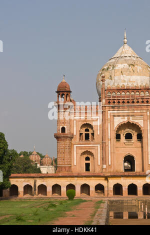 Safdarjung's Tomb in New Delhi. Red sandstone building inlaid with white marble. - Stock Photo