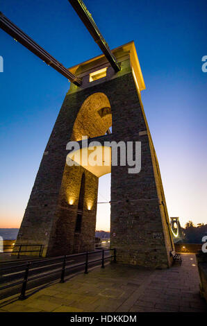 East support tower of the Clifton Suspension Bridge over the river Avon in Bristol at dusk - Stock Photo