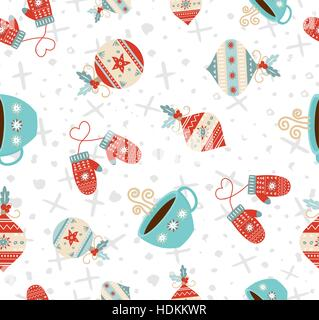 Merry Christmas seamless pattern background, cute holiday decoration in retro style. Includes ornament and winter - Stock Photo