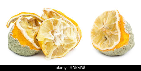 Rotten, moldy and decomposing organic lemon isolated on white background - Stock Photo