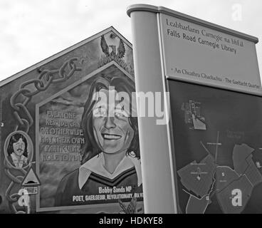 Belfast Falls Rd Rebublican Bobby Sands Mural and Carnegie Library BW Monochrome - Stock Photo