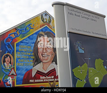 Belfast Falls Rd Rebublican Bobby Sands Mural and Carnegie Library - Stock Photo