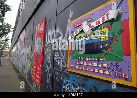 Titanic Hope Lost - Belfast International Peace Wall,Cupar way,West Belfast,NI,UK - Stock Photo