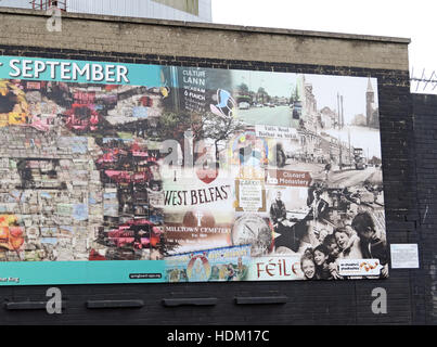 Falls Rd History,Belfast International Peace Wall,Cupar way,West Belfast,NI,UK - Stock Photo