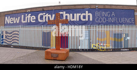 Belfast Falls Rd New Life City Church and iron cross,Being a God Influence - Stock Photo