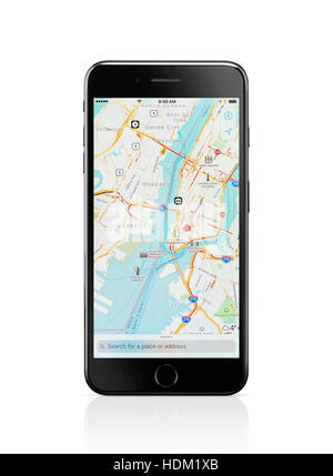 Apple iPhone 7 Plus with Apple Maps GPS navigation map showing New York City downtown on its display isolated on - Stock Photo