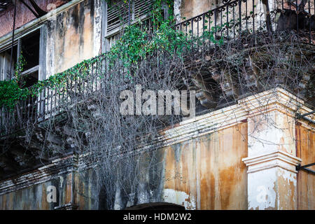 old beautiful balconies of the building - Stock Photo