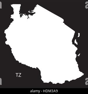 Tanzania regions Map black and white illustration Stock Vector Art