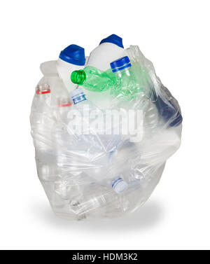 garbage bag with empty plastic bottles isolated on white background - Stock Photo